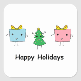 Cute Christmas Square Stickers