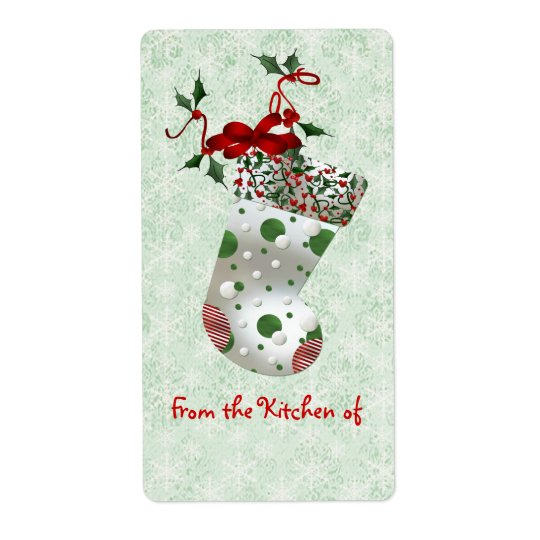 Cute Christmas Stocking and Holly Kitchen Labels