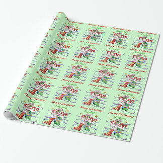 Cute Christmas Stocking Bunny Personalized Wrapping Paper