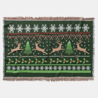 Cute Christmas Sweater Pattern Holiday Reindeer Throw Blanket