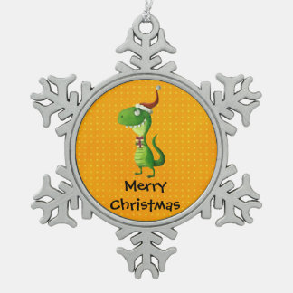 Cute Christmas T-rex Snowflake Pewter Christmas Ornament