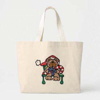 cute christmas teddy bear canvas bags