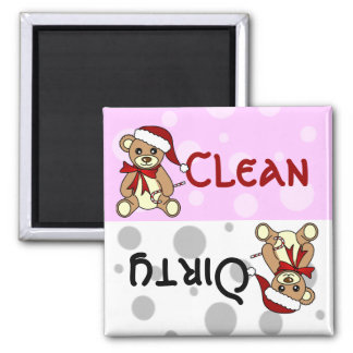 Cute Christmas Teddy Bear Clean Dirty Dishwasher Square Magnet