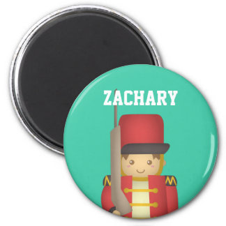 Cute Christmas Toy Soldier Boy in Red 6 Cm Round Magnet