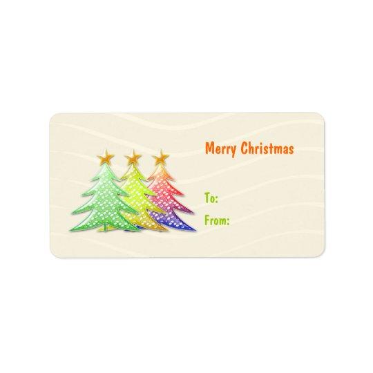 Cute Christmas Tree Gift Tag Label