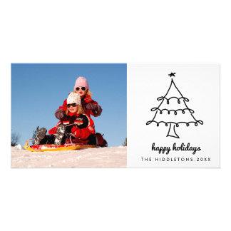 Cute Christmas Tree Happy Holidays Script Modern Personalised Photo Card