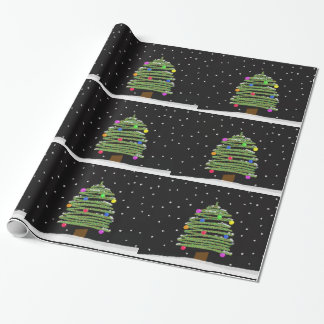 Cute Christmas Tree in Snow Drawing Wrapping Paper