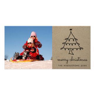 Cute Christmas Tree Merry Christmas Script Rustic Custom Photo Card