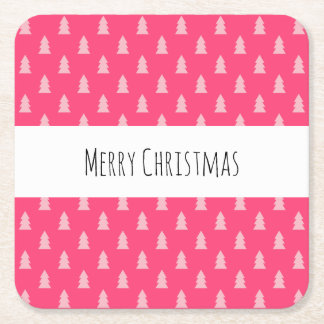 Cute Christmas tree pattern pastel and hot pink Square Paper Coaster