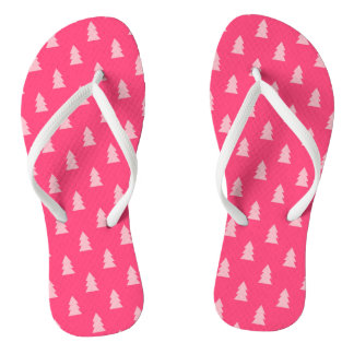 Cute Christmas tree pattern pastel and hot pink Thongs