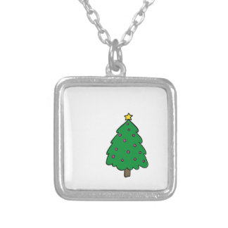 CUTE CHRISTMAS TREE SILVER PLATED NECKLACE
