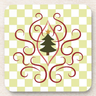 Cute christmas tree with elegant red swirls coasters