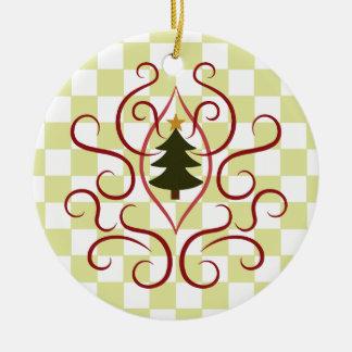 Cute christmas tree with elegant red swirls round ceramic decoration