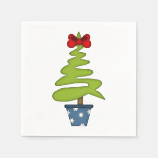 Cute Christmas Tree with Red Bow Paper Serviettes
