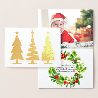 Cute Christmas trees and adorable baby photo Foil Card