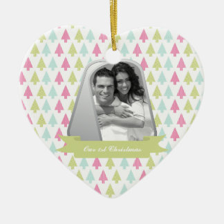 Cute Christmas Trees and Military Dog Tags Photo Ceramic Heart Decoration