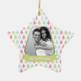 Cute Christmas Trees and Military Dog Tags Photo Ceramic Star Decoration