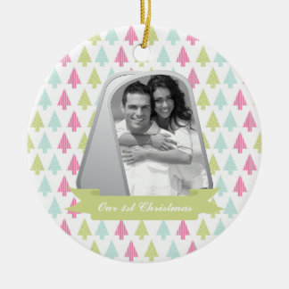 Cute Christmas Trees and Military Dog Tags Photo Round Ceramic Decoration