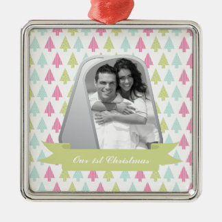 Cute Christmas Trees and Military Dog Tags Photo Silver-Colored Square Decoration