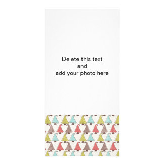 Cute Christmas Trees Pattern Photo Cards