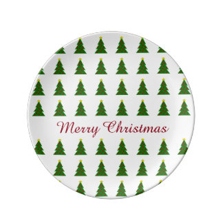 Cute Christmas Trees Personalized Plate