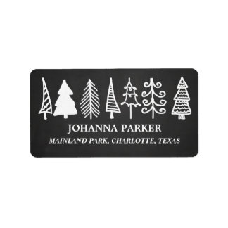 Cute Christmas Trees Vintage Chalkboard Holiday Address Label