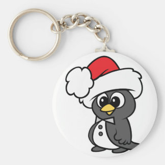 Cute Christmas Tuxedo Penguin Basic Round Button Key Ring