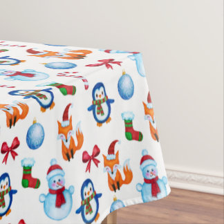 Cute Christmas Watercolor Illustration Pattern Tablecloth
