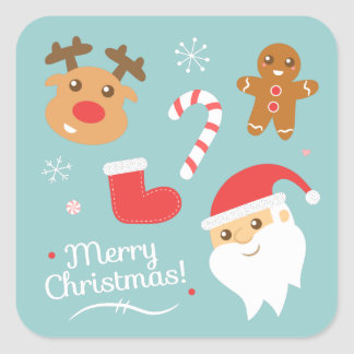 Cute Christmas with Santa, Reindeer, Gingerbread Square Sticker