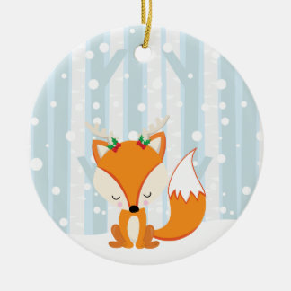 Cute Christmas Woodland Fox Ceramic Ornament