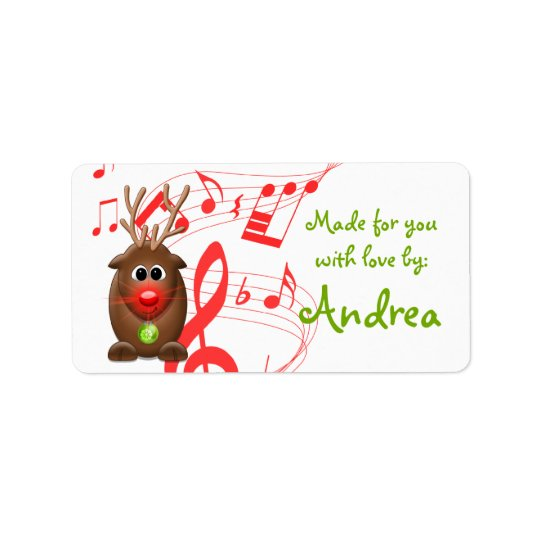 Cute Christmas Xmas Reindeer Gift Tag Sticker Address Label
