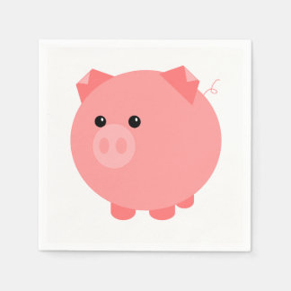 Cute Chubby Pig Party Napkins Paper Napkin
