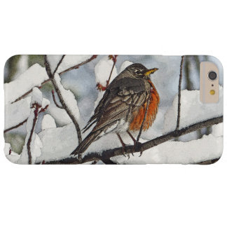 CUTE, CHUBBY ROBIN ON SNOW-COVERED BRANCH BARELY THERE iPhone 6 PLUS CASE