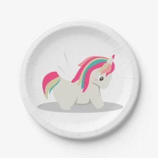 Cute chubby unicorn chibi blushing 7 inch paper plate