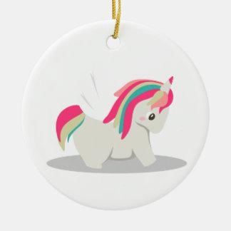 Cute chubby unicorn chibi blushing ceramic ornament