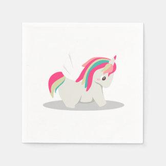 Cute chubby unicorn chibi blushing disposable napkins