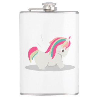 Cute chubby unicorn chibi blushing hip flask