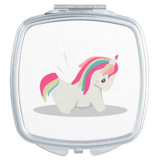 Cute chubby unicorn chibi blushing mirror for makeup