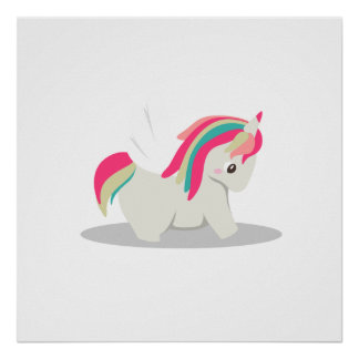 Cute chubby unicorn chibi blushing poster