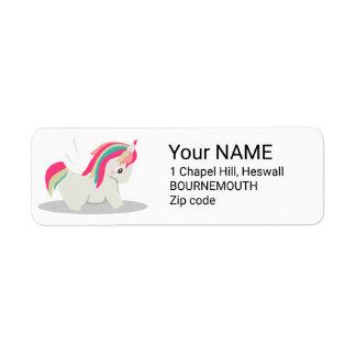Cute chubby unicorn chibi blushing return address label