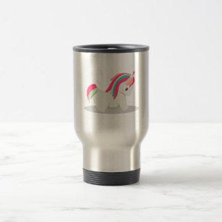 Cute chubby unicorn chibi blushing travel mug