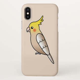Cute Cinnamon Cockatiel Cartoon Bird Illustration iPhone X Case