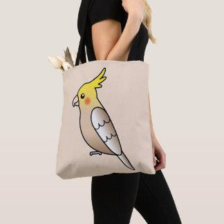 Cute Cinnamon Cockatiel Cartoon Bird Illustration Tote Bag