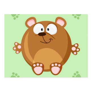Cute circle brown bear postcard