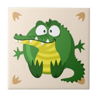 Cute circle crocodile small square tile