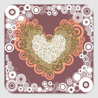 Cute Circle Hearts Pattern Earth Tones Sticker
