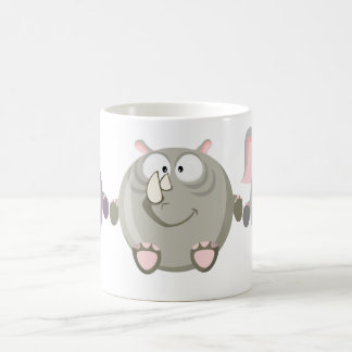 Cute circle rhino coffee mug
