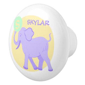 Cute Circus | Baby Nursery Elephant Ball Unisex Ceramic Knob