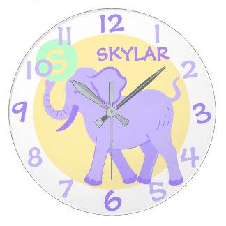 Cute Circus | Baby Nursery Fun Cartoon Elephant Large Clock