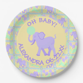 Cute Circus | Baby Shower Boy Or Girl Add A Name 9 Inch Paper Plate